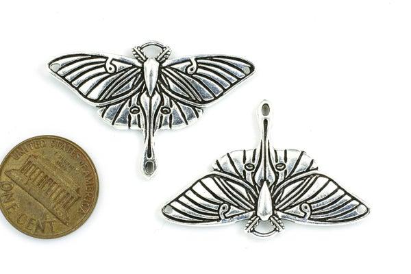 TierraCast Luna Moth Pendant Link, Antiqued Silver Plate, 26x40mm