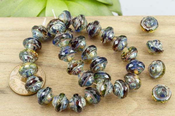 Czech Glass Saturn, Sapphire Grape, 10x8mm