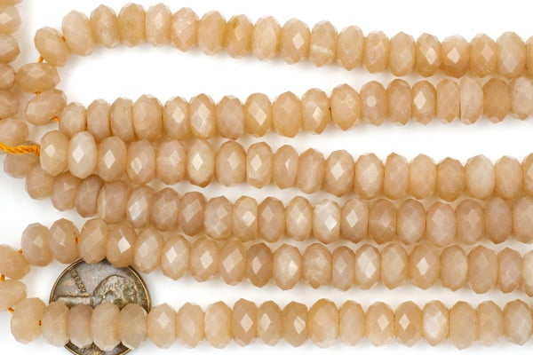 AA Peach Moonstone Faceted Rondelle, 8x5mm