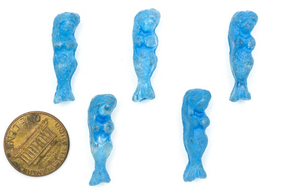 Czech Glass Mermaid, Blue Beach, Etched, 26x8mm