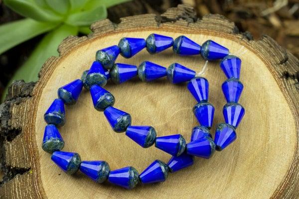 Czech Glass Faceted Drop, Royal Blue, 8x6mm