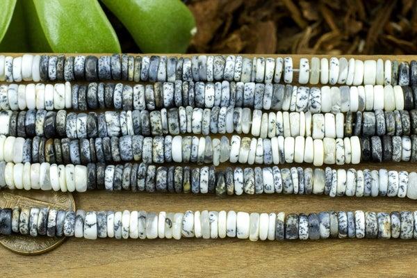 Indian-Cut Dendritic Opal Heishi, 6-6.5mm