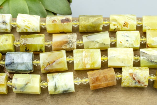 Yellow Opal Faceted Tube, 18x12mm