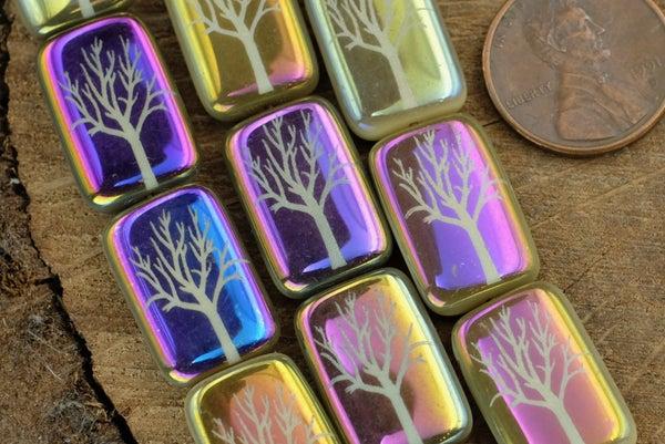 Czech Glass Laser Etched Tree, Rainbow Iris Finish, 19x12mm