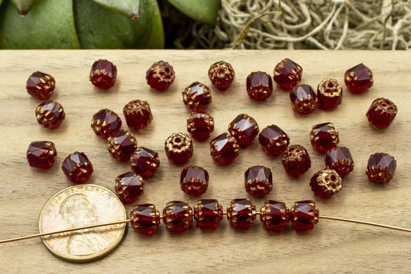 Czech Glass Cathedral, Ruby Bronze, 6mm