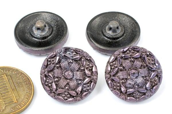 Vintage Czech Glass Buttons, Purple Flower, 18mm