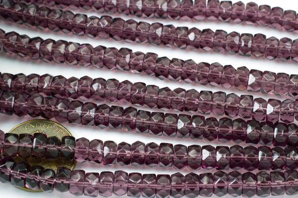 Czech Glass Faceted Heishi, Amethyst, 6x3mm