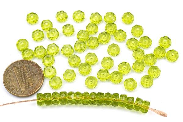 Czech Glass Faceted Heishi, Green, 6x3mm