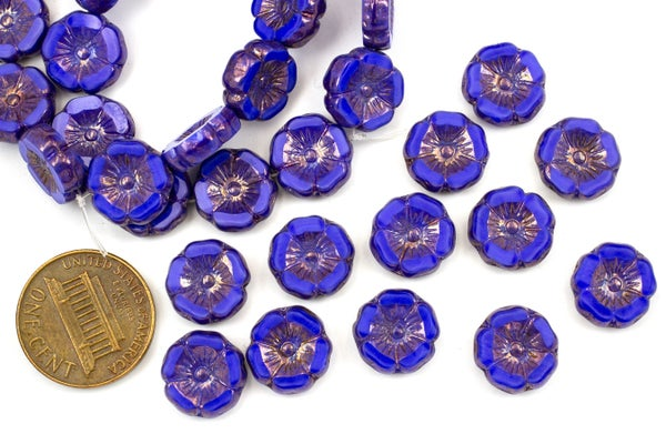 Czech Glass Hibiscus Flower, Royal Blue Bronze, 12mm