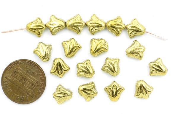 Czech Glass Lily, Gold, 8.5mm