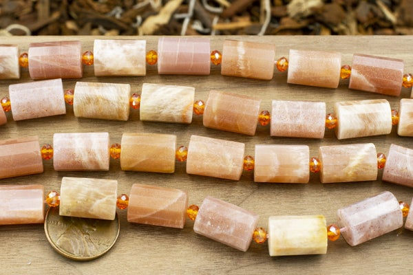 AA Peach Moonstone Faceted Tube, 14x10mm