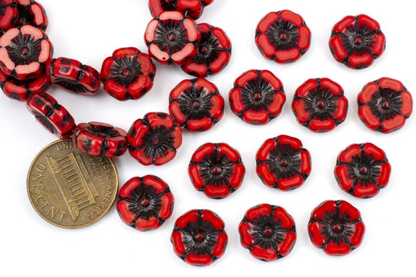 Czech Glass Hibiscus Flower, Red Black Wash, 12mm