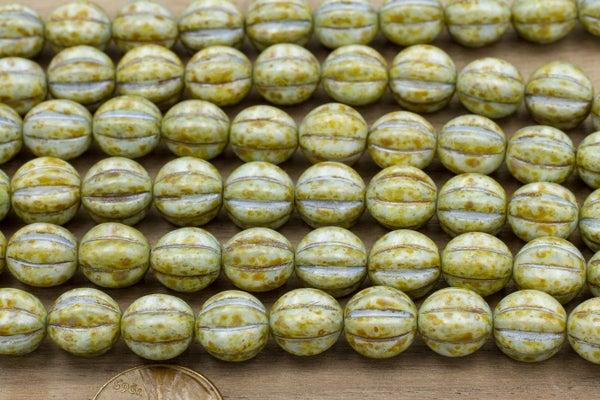 Czech Glass Melon, Picasso Blue Wash, 10mm