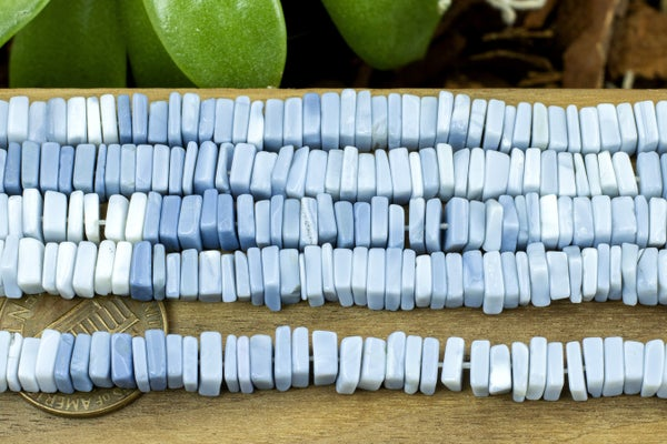 Indian-Cut Blue Opal Square Heishi, ~5.5mm, Gradient