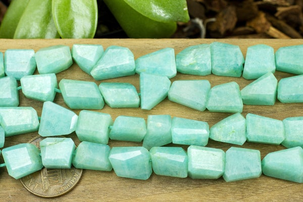 Indian-Cut Amazonite Faceted Nugget, 7-12mm