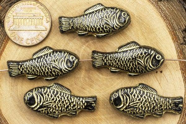 Czech Glass Fish, Black/Gold, 28x14mm