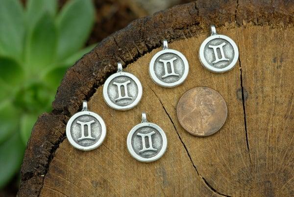 Zodiac Charm, Gemini, Antiqued Fine Silver Plate