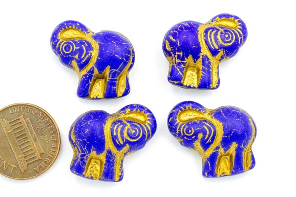 Czech Glass Elephant, Indigo Gold, 20x21mm