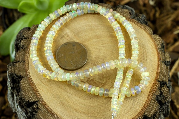 Indian-Cut Ethiopian Opal Faceted Rondelle, Yellow Mix, 3.3-4.8mm