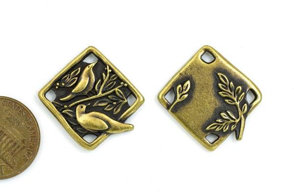 TierraCast Botanical Bird Link, Oxidized Brass Plate, 19x21mm