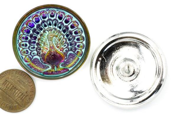 Czech Glass Button, Vitrail Peacock, Golden/Fuchsia w/ Turquoise Wash, 33mm