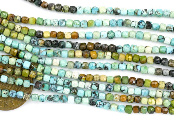 Dakota Stones Turquoise Faceted Cube, 2.5mm