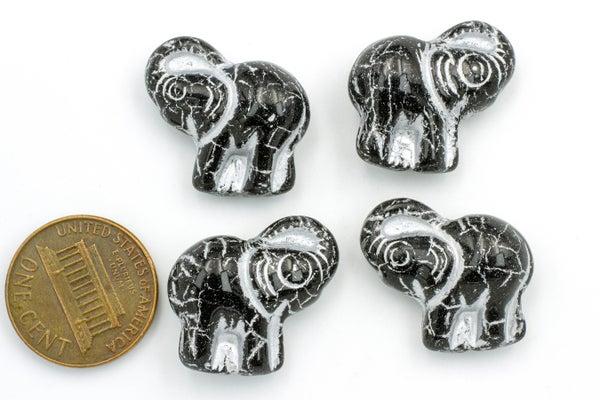 Czech Glass Elephant, Black w/ Silver, 20x21mm