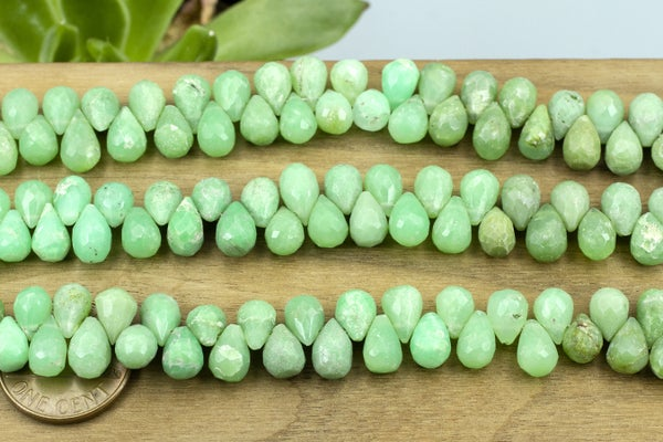 Indian-Cut Chrysoprase Faceted Teardrop, 6x8mm