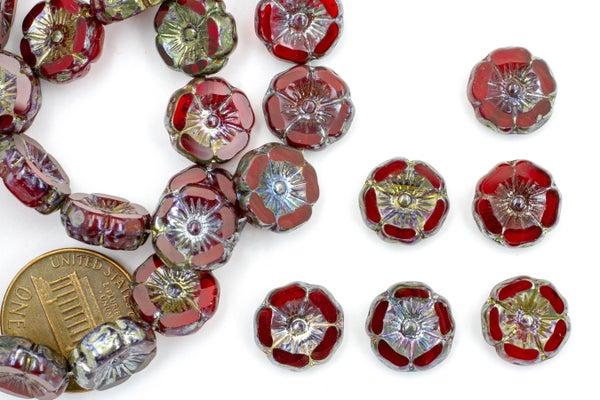 Czech Glass Hibiscus Flower, Ruby, 12mm