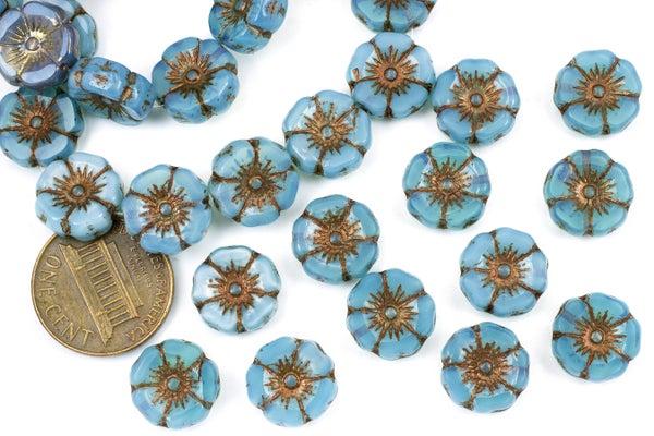 Czech Glass Hibiscus Flower, Bronze Blue Opal, 12mm