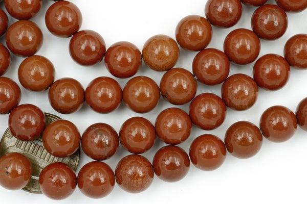Red Jasper Smooth Round, 8.5mm
