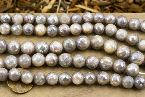 Indian-Cut Coated Moonstone Faceted Round, 9-10mm