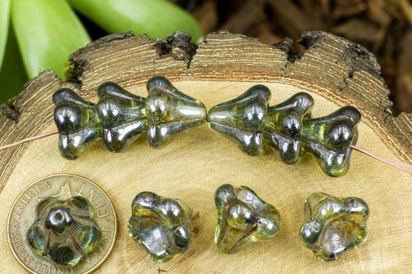 Czech Glass Bell Flower, Green Picasso Luster, 11x13mm
