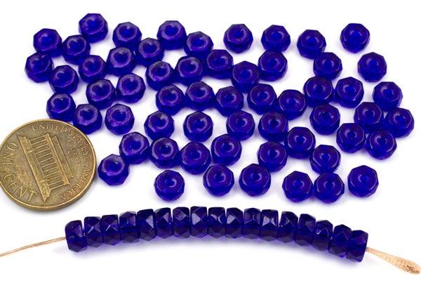 Czech Glass Faceted Heishi, Cobalt Blue, 6x3mm