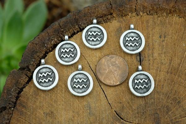 Zodiac Charm, Aquarius, Antiqued Fine Silver Plate