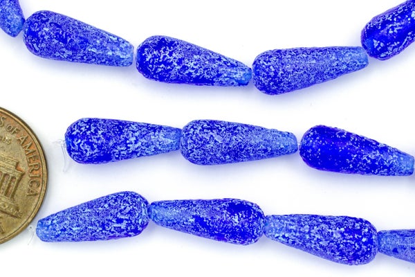 Czech Glass Long Drop, Etched Cobalt, 15x6mm