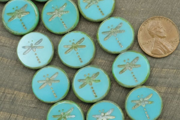 Czech Glass Tablecut Dragonfly, Turquoise Picasso, 17mm