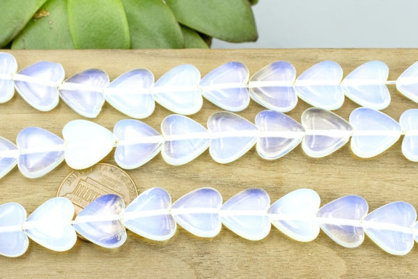 Opalite (glass) Smooth Heart, 12mm