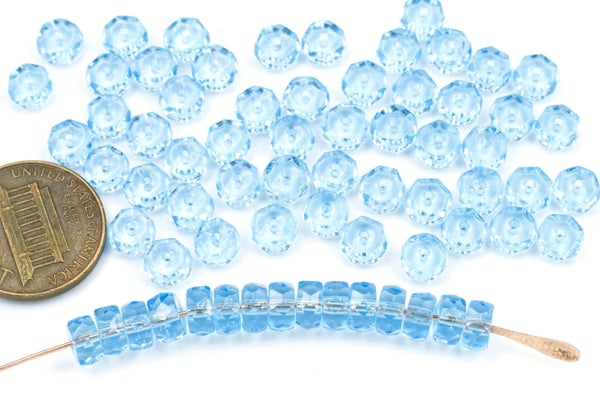Czech Glass Faceted Heishi, Aqua, 6x3mm
