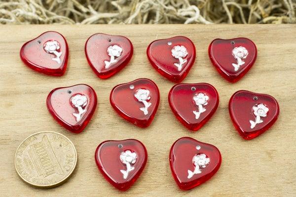 Czech Glass Heart, Red w/ Silver Flower, 17x16mm