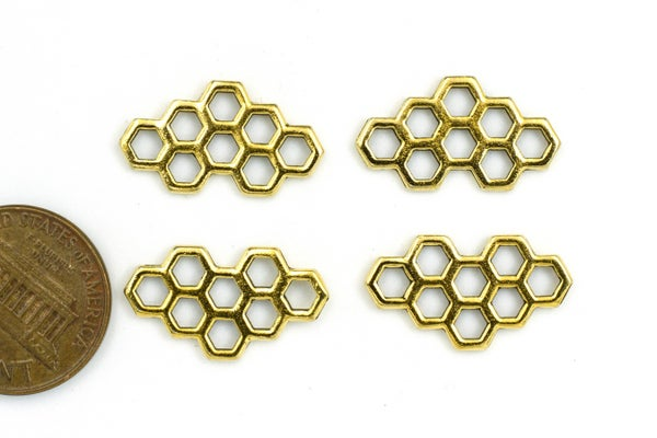 TierraCast Honeycomb Link, Antiqued Gold Plate, 21x12mm