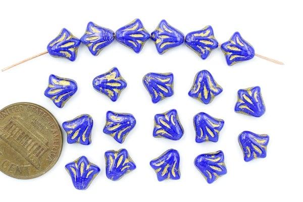 Czech Glass Lily, Indigo Gold, 8.5mm