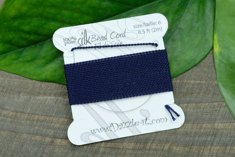 Silk Knotting Cord with Needle Attached, Size 6, Navy