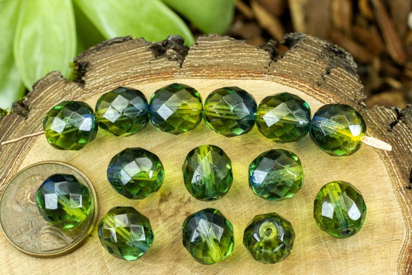 Czech Glass Faceted Two-Tone Round, Dark Olive/Sapphire, 10mm