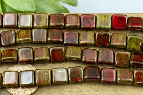 Czech Glass Square, Red Picasso, 9mm