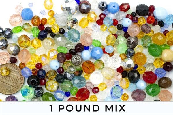 Czech Glass Firepolish Round Mix, 3-10mm