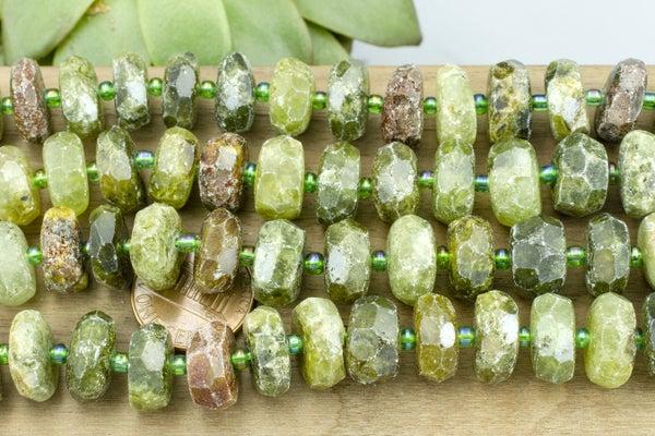 Green Garnet Rough-Cut Rondelle, 5-7mm x 12-14mm