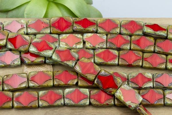 Czech Glass Tablecut Rectangle, Red Travertine, 15x11mm
