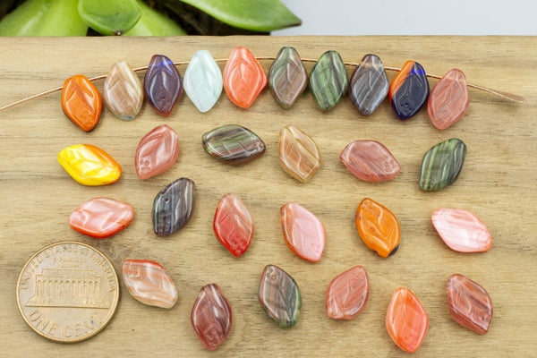 Vintage Czech Glass Leaf, Reds Multi Mix, 12x8mm, You'll need to sort out about 25% of these due to imperfections in shape. They have been discounted. No returns accepted.