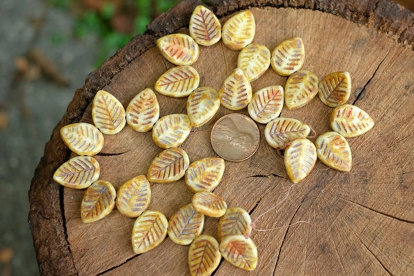 Czech Glass Carved Leaves, Autumn Mix, 12x17mm
